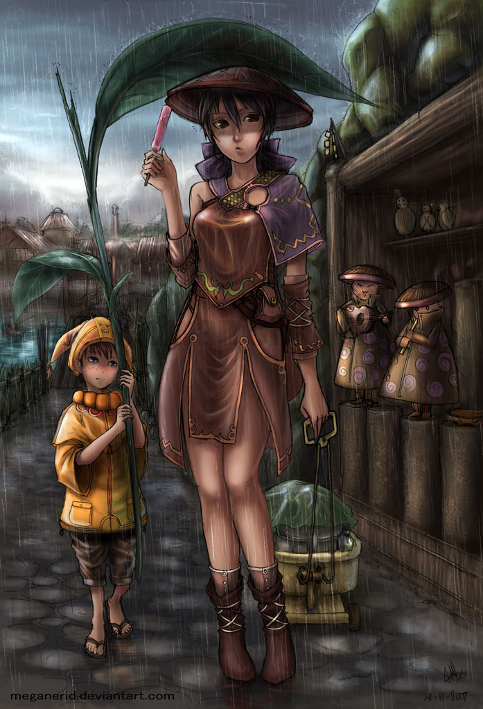 Rainy Village - colored by MeganeRid