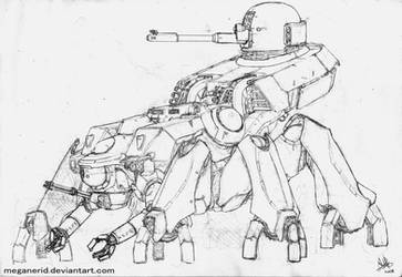 Spider Tank - lineart by MeganeRid