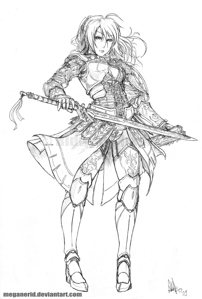 Line Drawing Female : Female warrior fate lineart by meganerid on deviantart