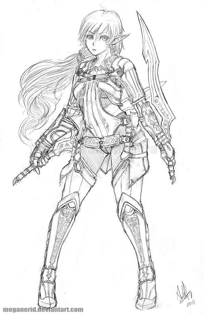 Line Drawing Female : Female elven thief by meganerid on deviantart