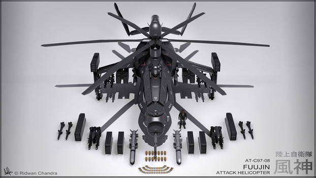 Fuujin Attack Helicopter Render by MeganeRid
