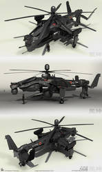 Fuujin Attack Helicopter Renders 2 by MeganeRid