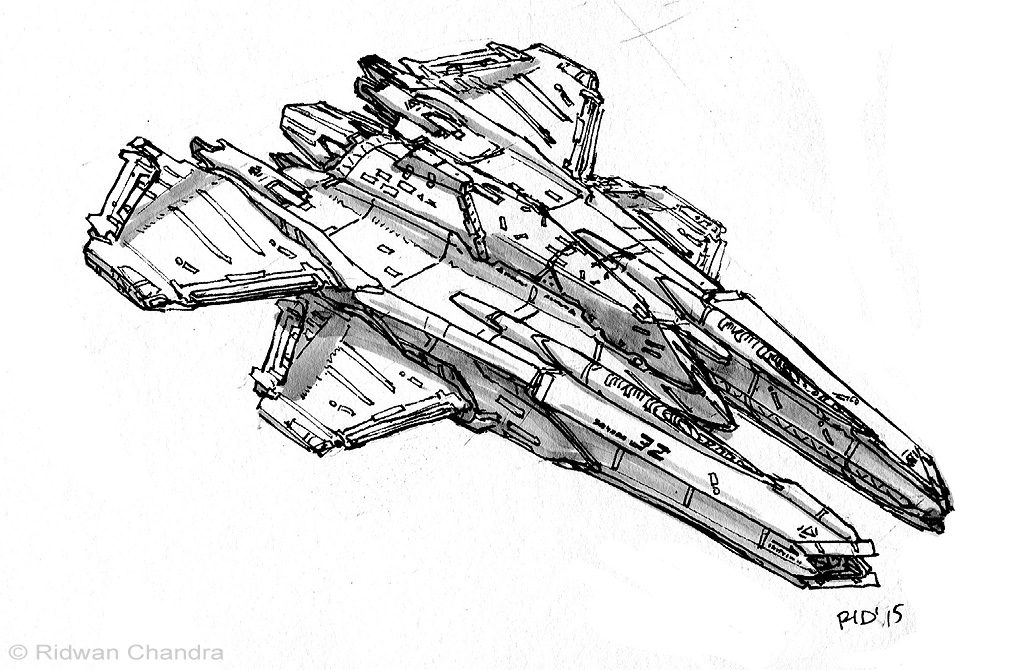 Line Drawings From D Models : Space fighter by meganerid on deviantart