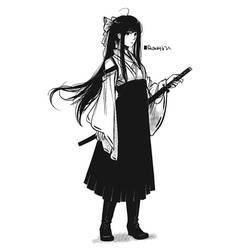 Hakama Girl with Katana