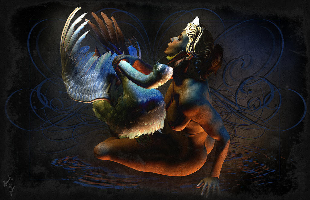Leda and the Swan by k... Zeus Digital Painting