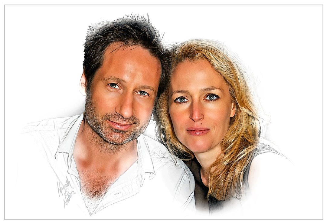 Duchovny and Anderson by kenernest63a