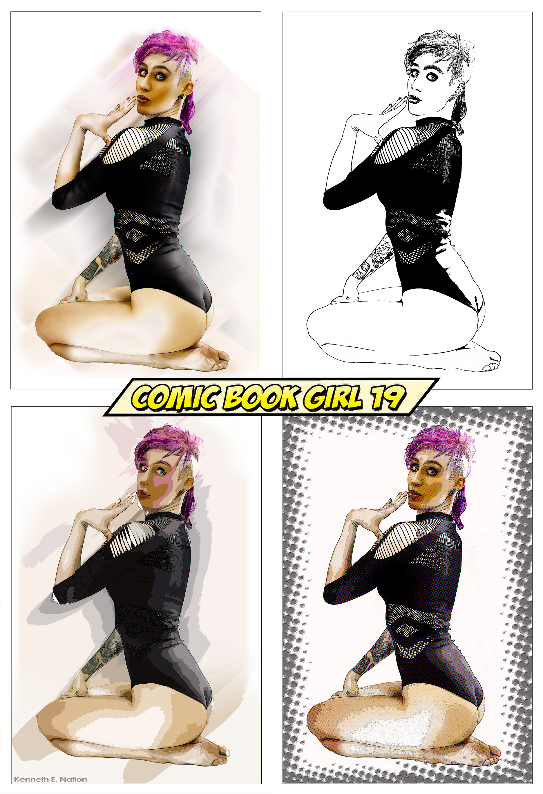 Comic Book Girl 9 x4 by kenernest63a