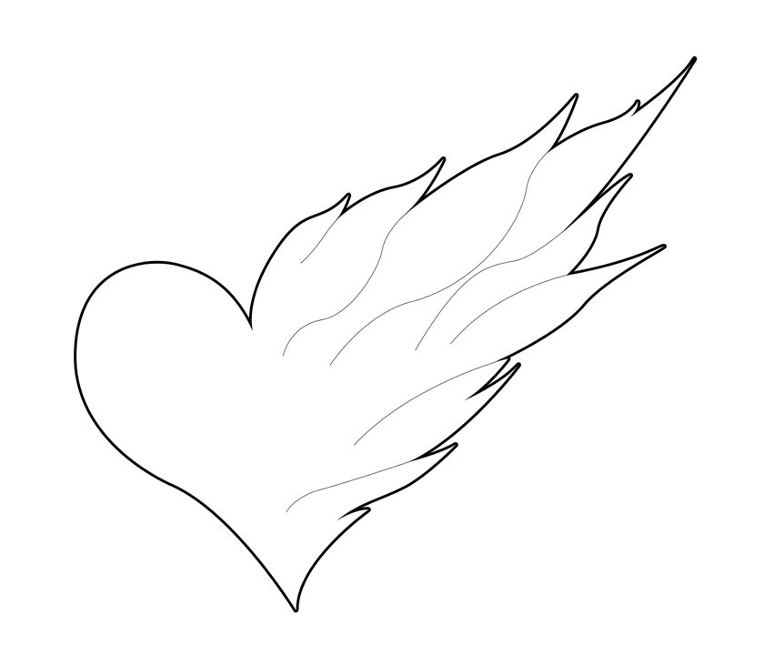Easy To Draw Flaming Heart Flaming heart tattoo by Easy Designs To Draw For Kids