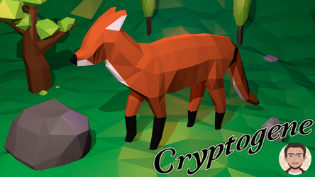 Low poly scene - Fox in the forest