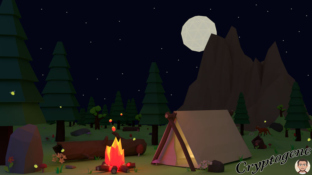 Low Poly Scene Camping in the forest