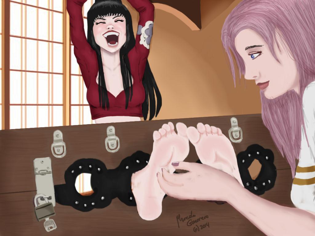 Yuuko Ichihara foot tickled by Jamie by marceloeguerrero