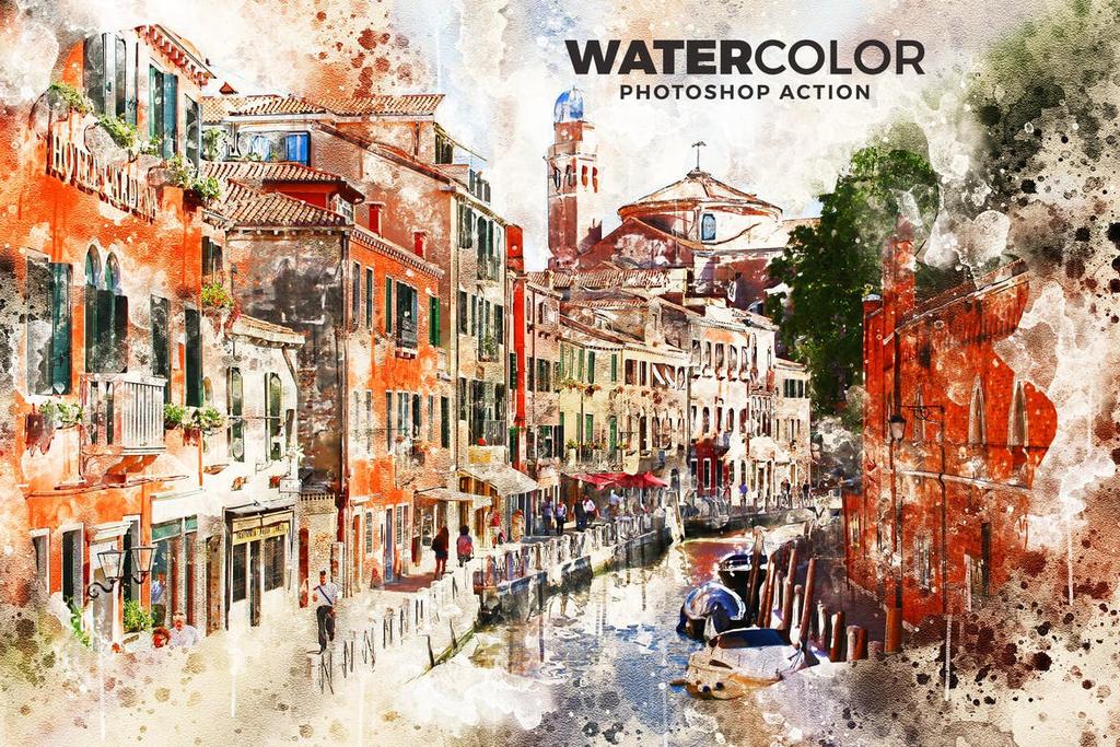 Watercolor Photoshop Action by hemalaya