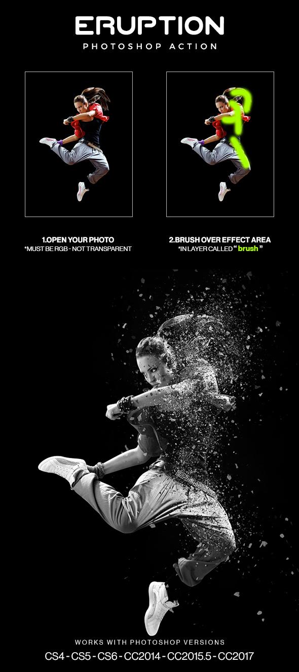 Eruption Photoshop Brushes and Action by hemalaya