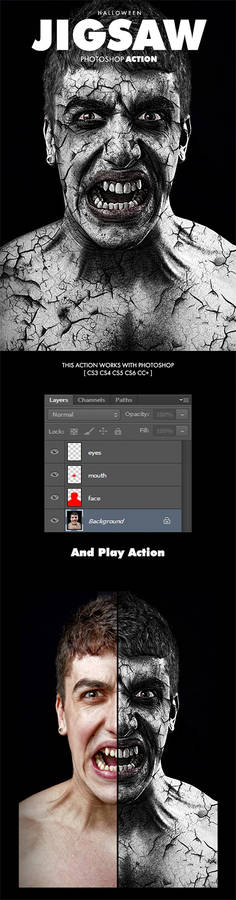 Jigsaw Halloween Effect - Photoshop Action