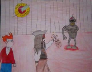 Jack Sparrow Finds Bender's Rum by Forbidden-Hanyou