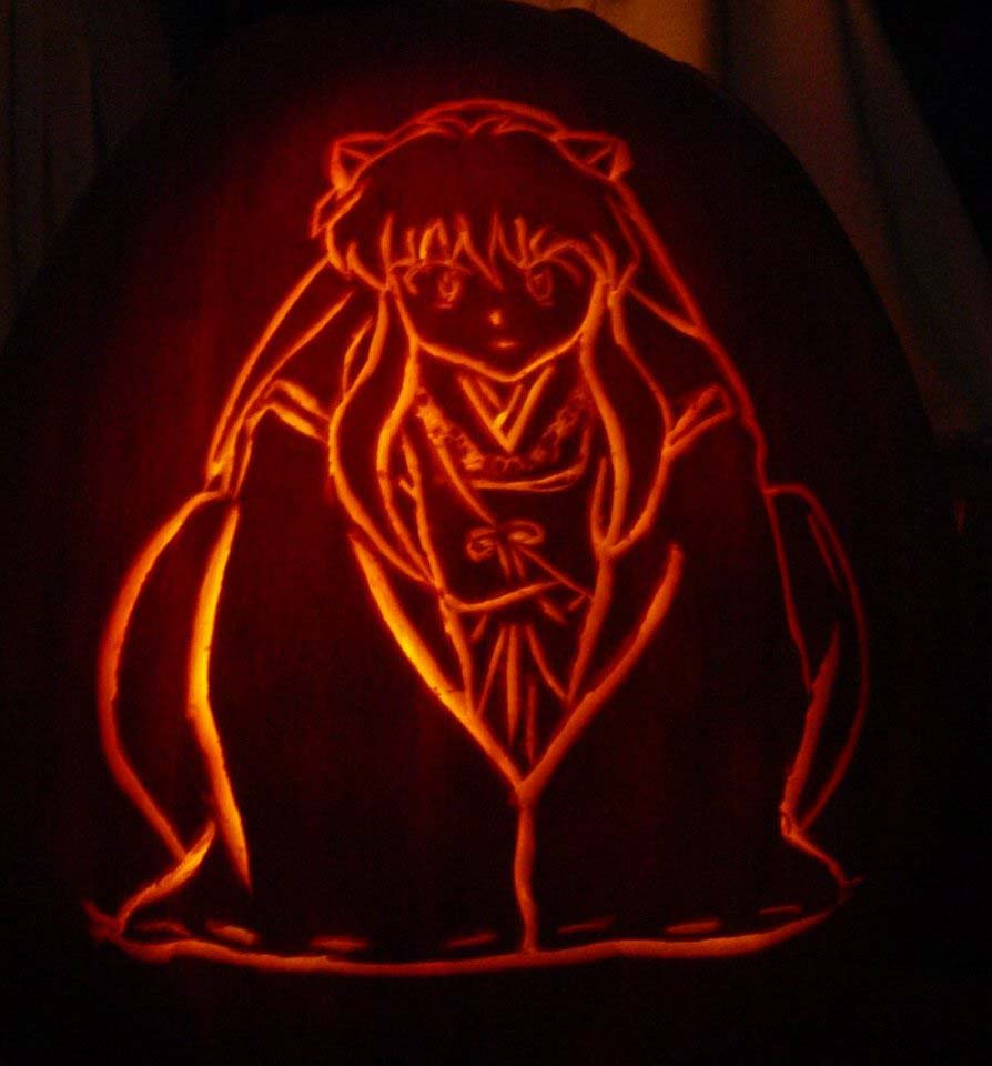 Inuyasha pumpkin carving by distantvisions on deviantart
