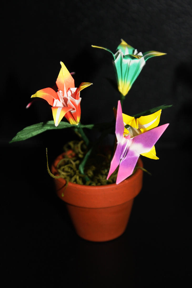 Origami Flower Pot By Distantvisions On Deviantart