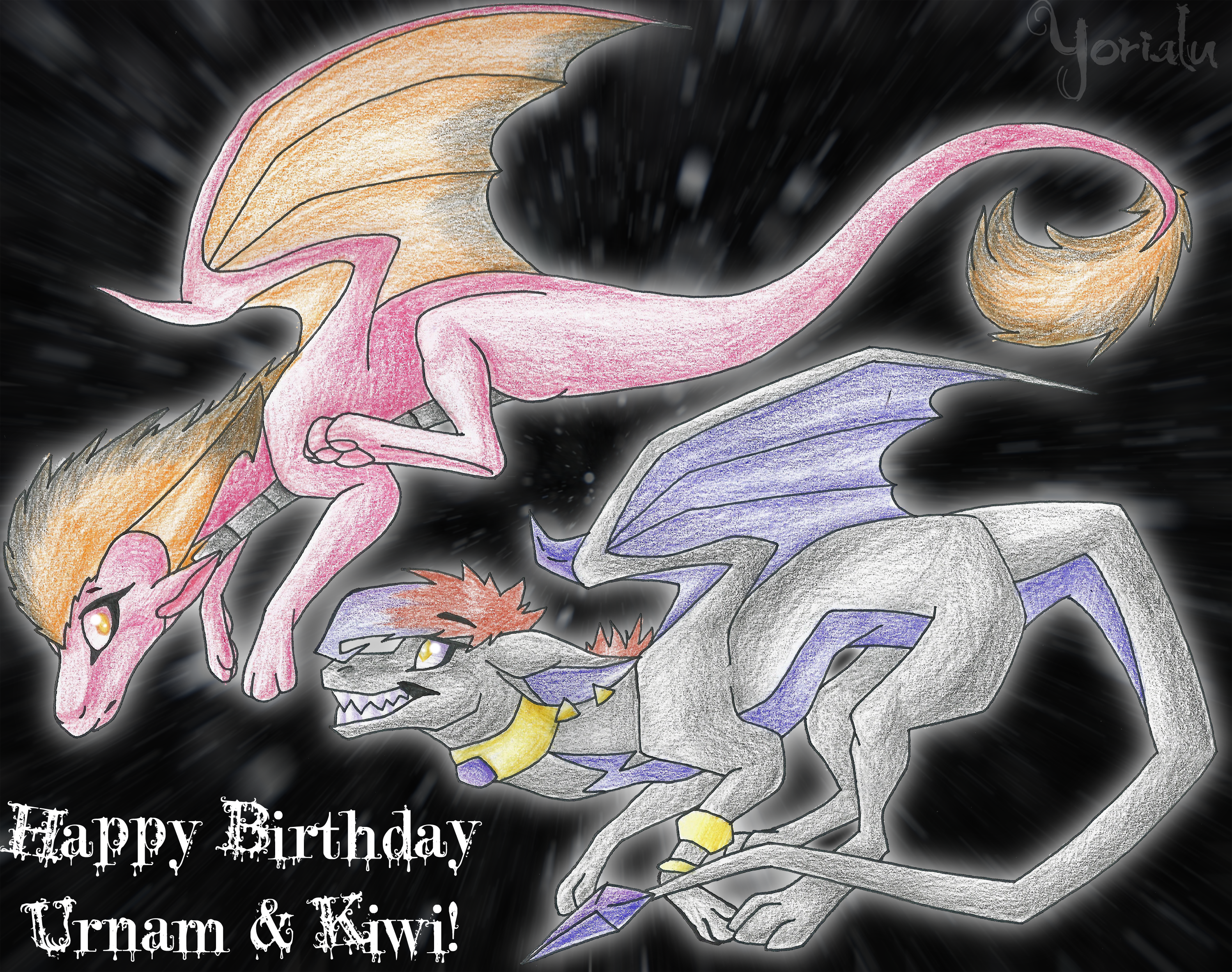 Happy Birthday Urnam and Kiwi by Yorialu