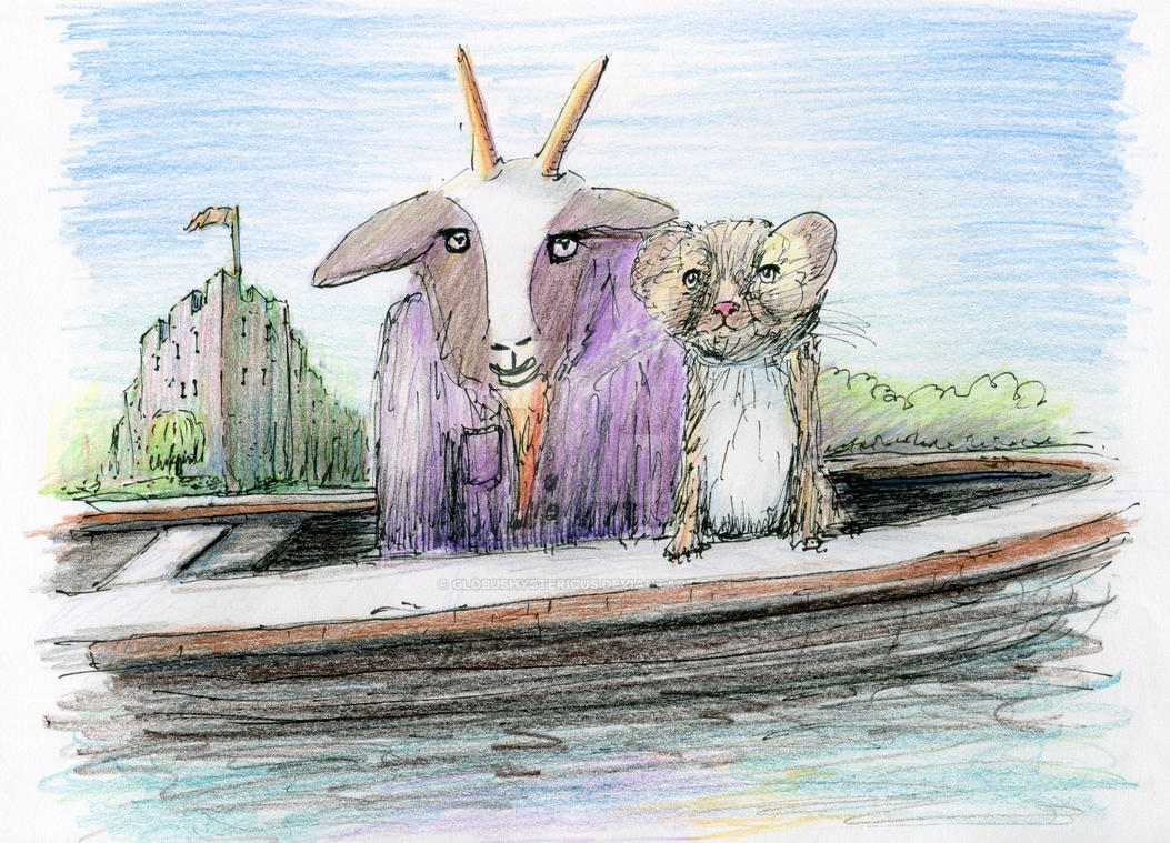goat in a coat with a stoat in a boat in a moat by globushystericus
