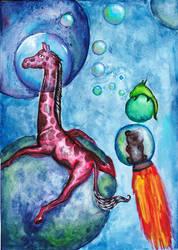 Girafe astronaute et autres bestioles etranges. by Polar-Circle