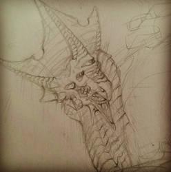 Triclops Dragon Sketch by LittleMollieLuLu