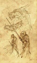 Rhaenys, Visenya, and their dragons (Early sketch)