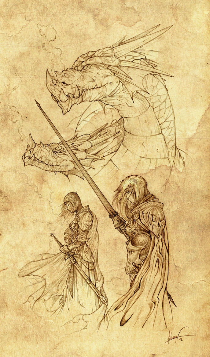 Rhaenys, Visenya, and their dragons (Early sketch) by Feliche