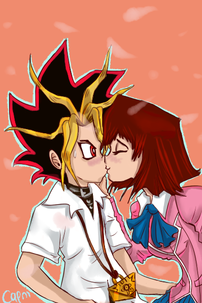 Sudden kiss for Yami by CapnMeli
