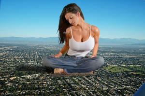 Giant Denise Milani sitting on the city by The-WonderSlug