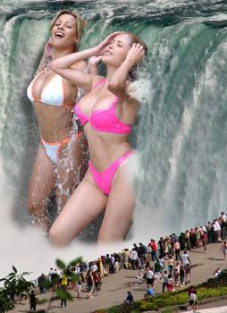 Girls in the waterfall