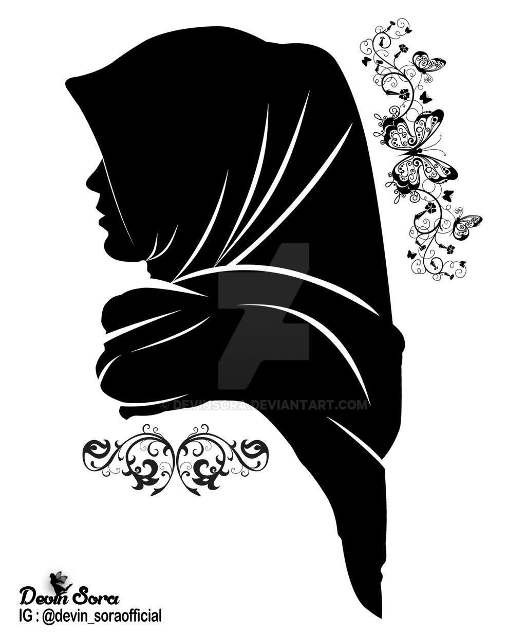 Gambar Wanita Hijab Hitam Putih Kartun Gambar Hijab Wanita