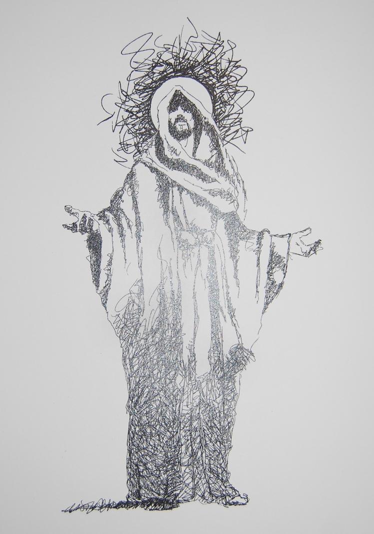 Scribble Pen Drawing : Pen and ink scribble jesus by andersonbi on deviantart