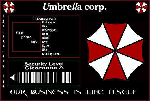 Umbrella Corp ID Template