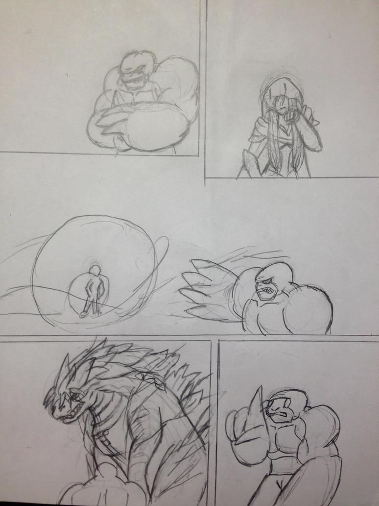 request: scara vs Killer croc  (sketch) by vivere-sectam129