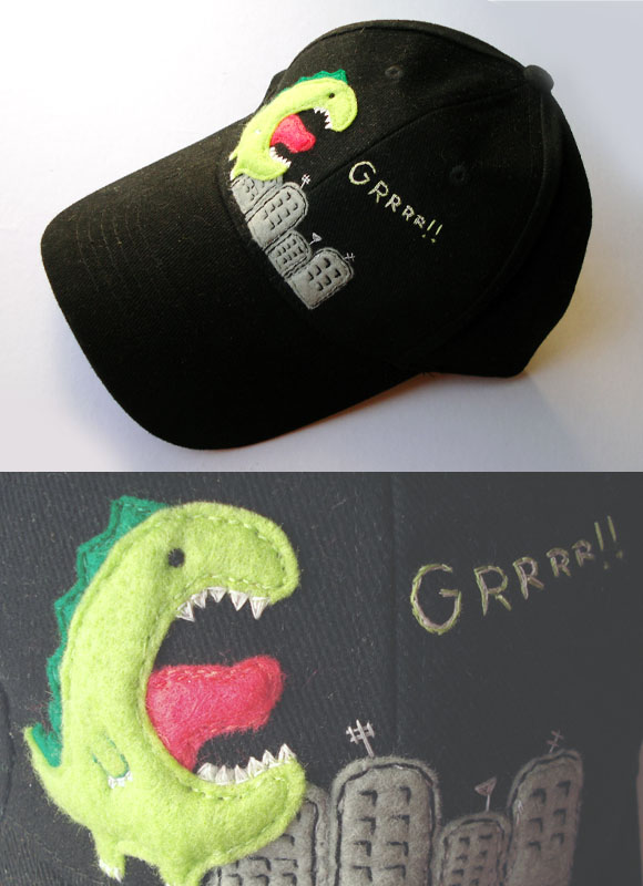 embroidery cap dino grr