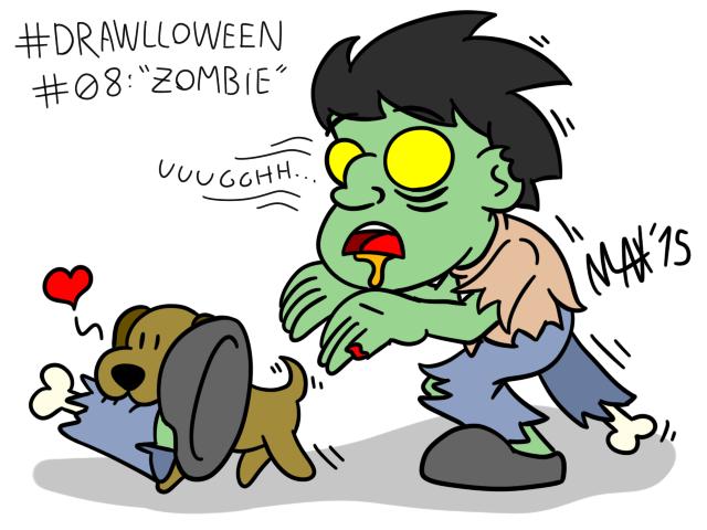 Drawlloween 08 - Zombie by megawackymax