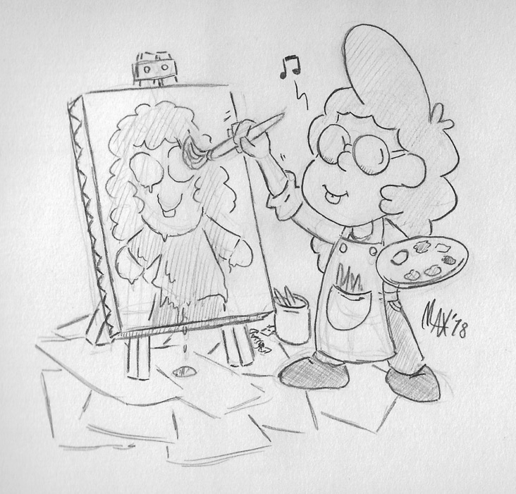 SKETCH - Young artist by megawackymax
