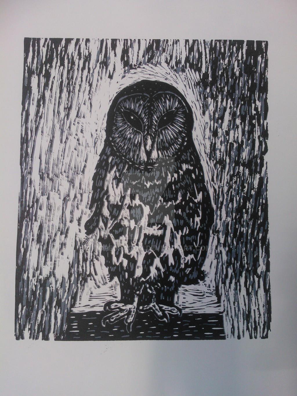 owl lino print by hopedragon on deviantart