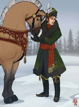 Young Prince Hans in his Winter Hunting Outfit