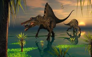 Spinosaurus Dinosaurs Fishing by MasPix