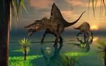 Spinosaurus Dinosaurs Fishing