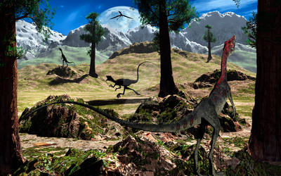 Campsognathus Dinosaurs. by MasPix