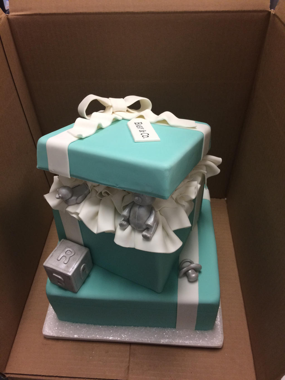 tiffany box baby shower cake by ninny85310