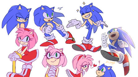 Sketches Sonic and Amy Rose by Di-Dash