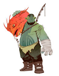 Half-Orc Fisherman by BrotherBaston