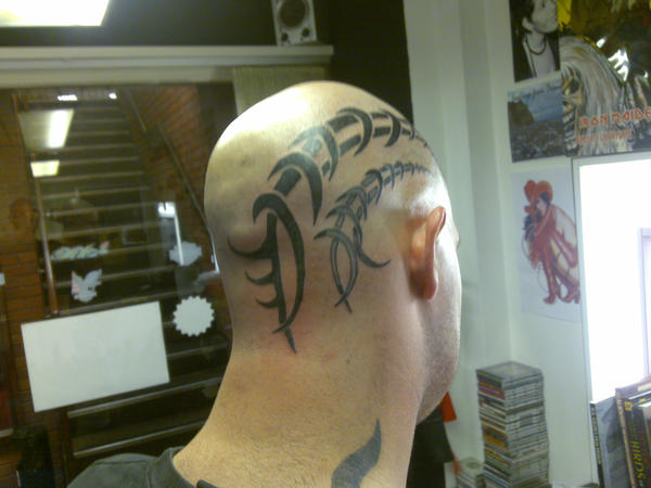 Tribal Tattoo on Back My Head tattoo extension pt 2