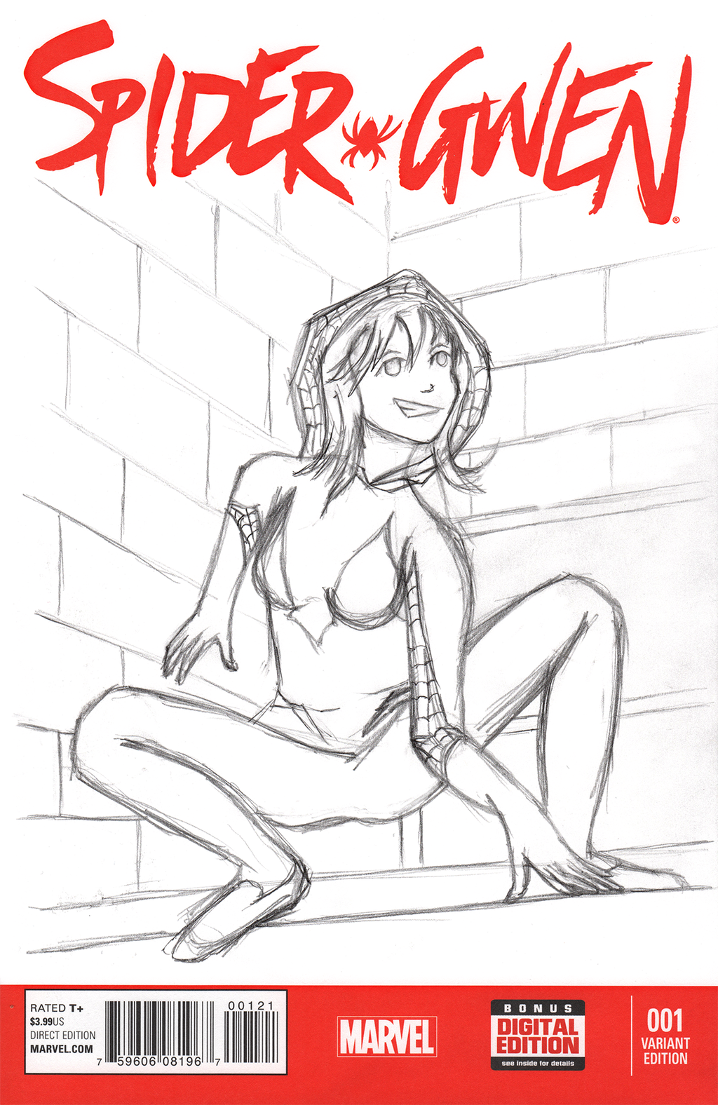 Spider-Gwen Sketch Cover 1 - WiP by tekitsune
