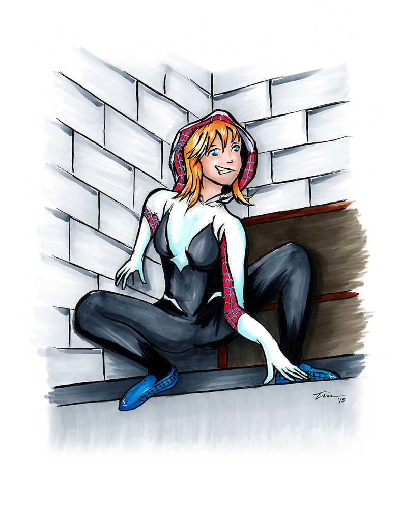 Spider-Gwen On A Ledge by tekitsune