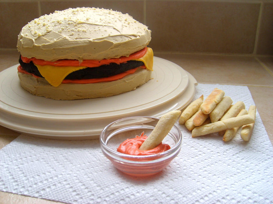 Burger Cake and Cookie French Fries by girladrencodephoenix