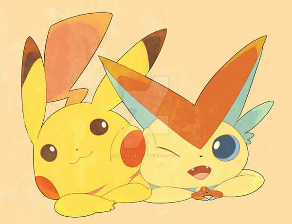Pokemon - Pikachu and Viktini by MusicBunnyx3